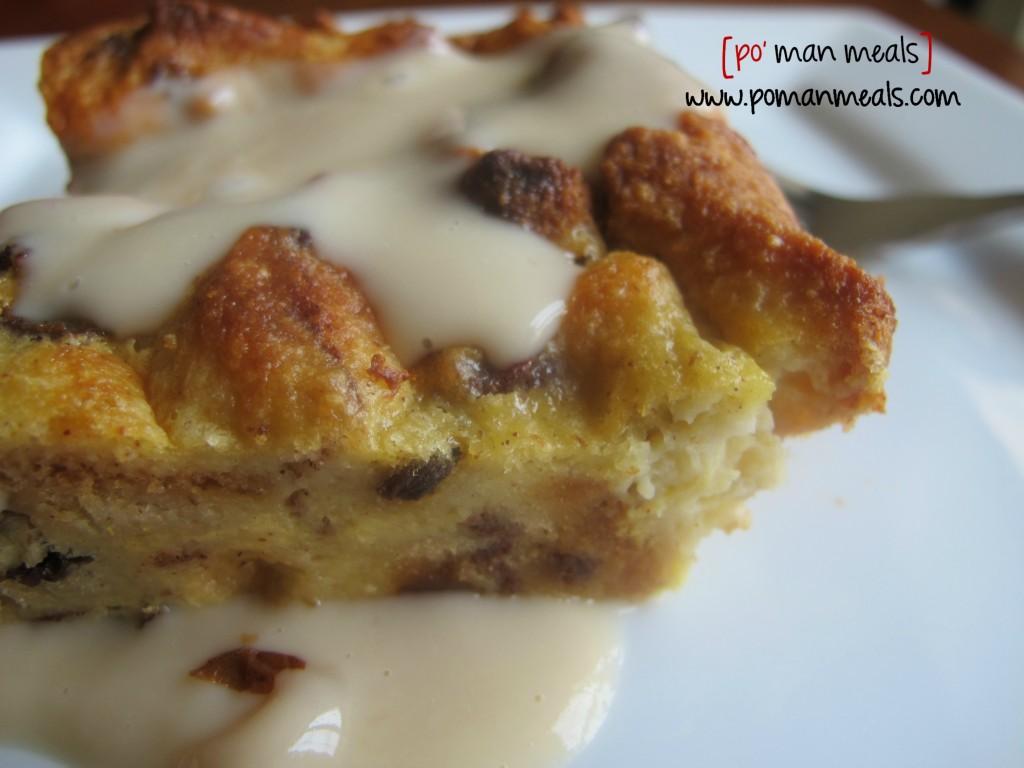 po' man meals - eggnog bread pudding with vanilla cream sauce