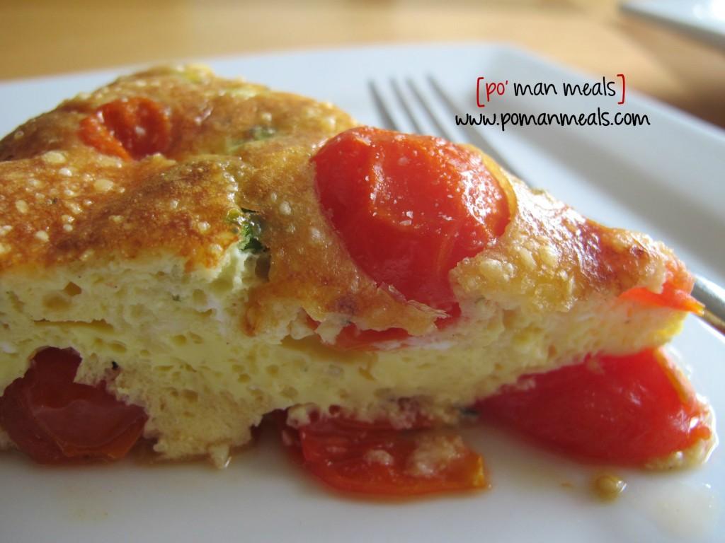po' man meals - cherry tomato frittata