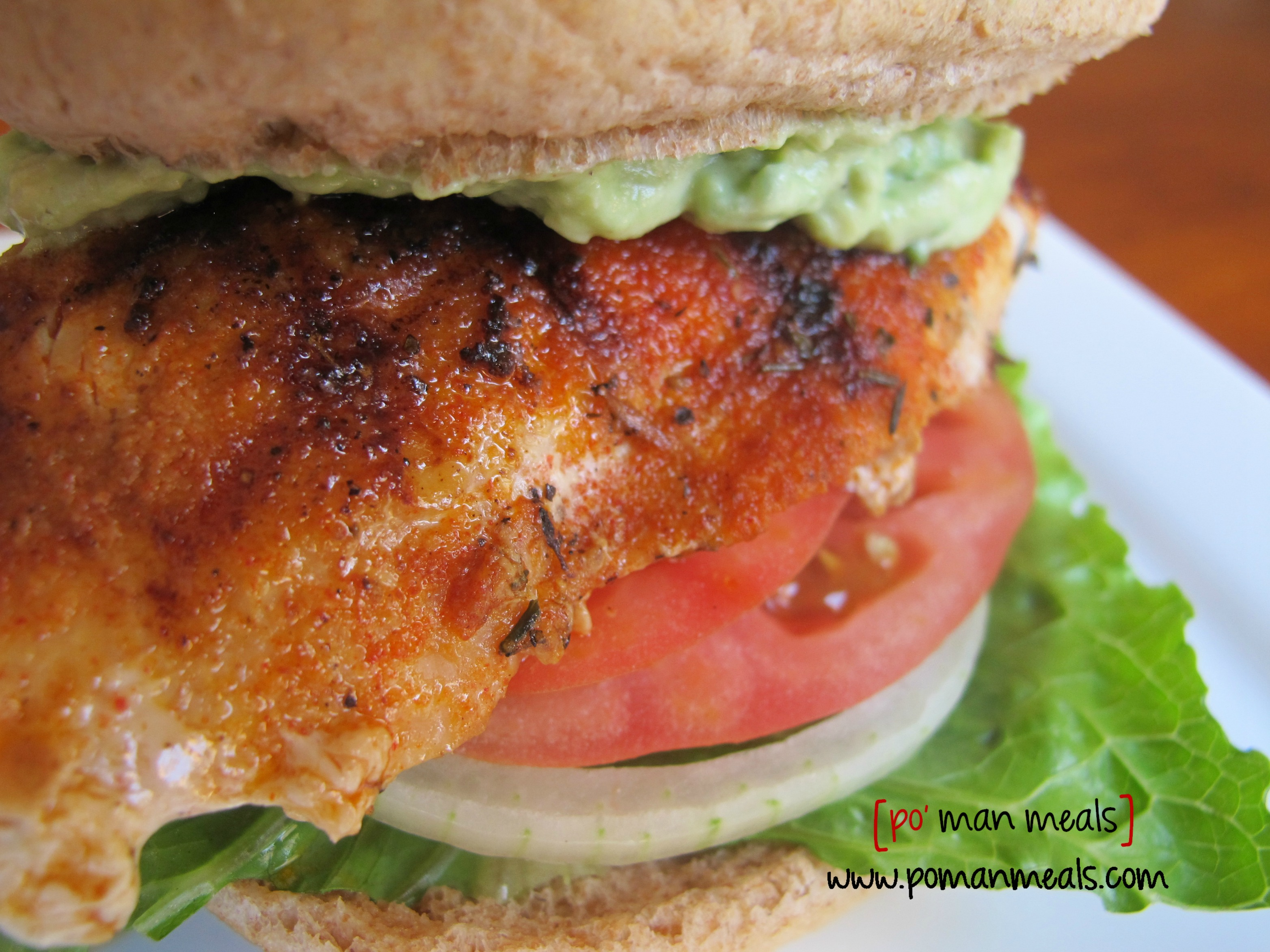 po' man meals - blackened chicken sandwiches with avocado cream sauce