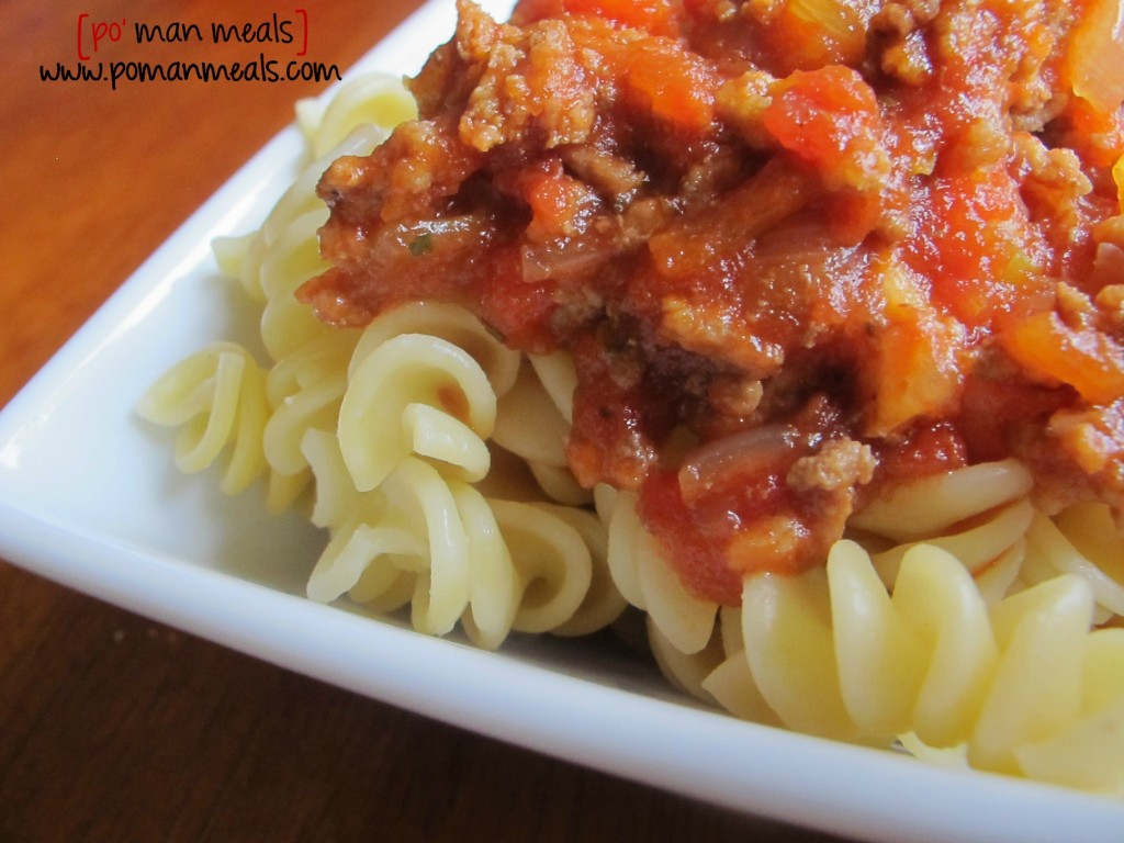 po' man meals - easy spaghetti meat sauce