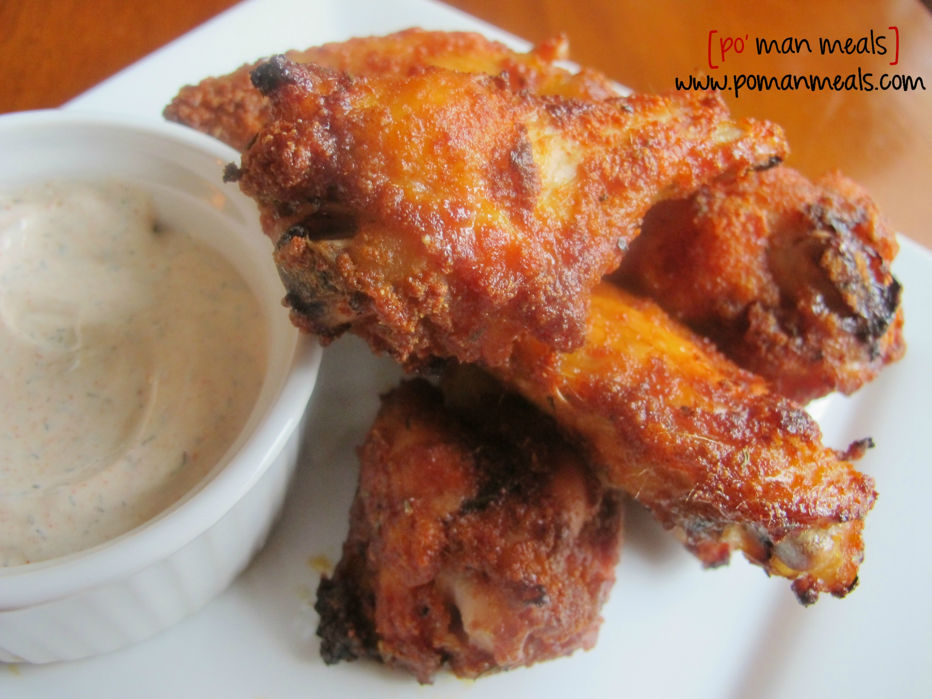 po' man meals - baked sweet and spicy chicken wings with dill ranch ...