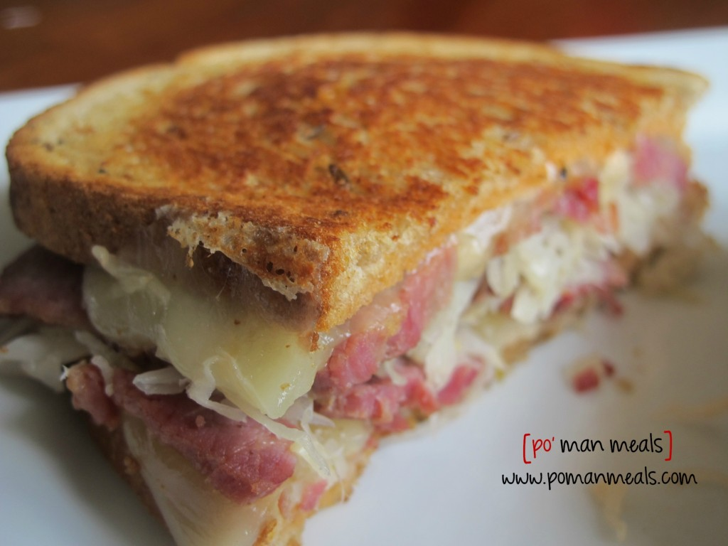 po' man meals - cheesy reuben sandwich