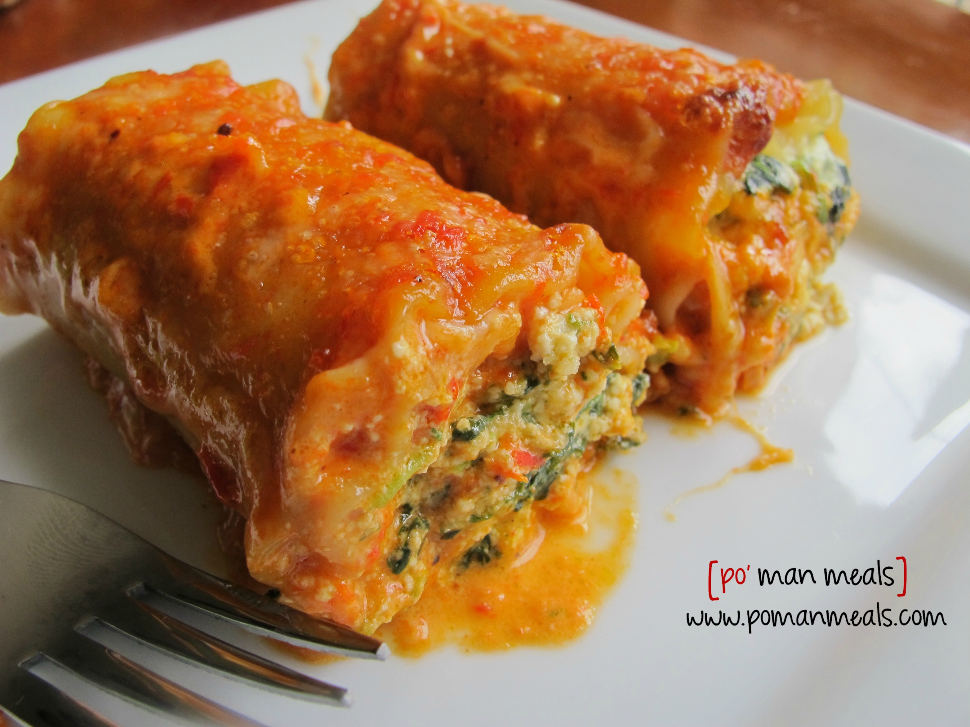 po' man meals - spinach lasagna rolls with roasted red bell pepper ...
