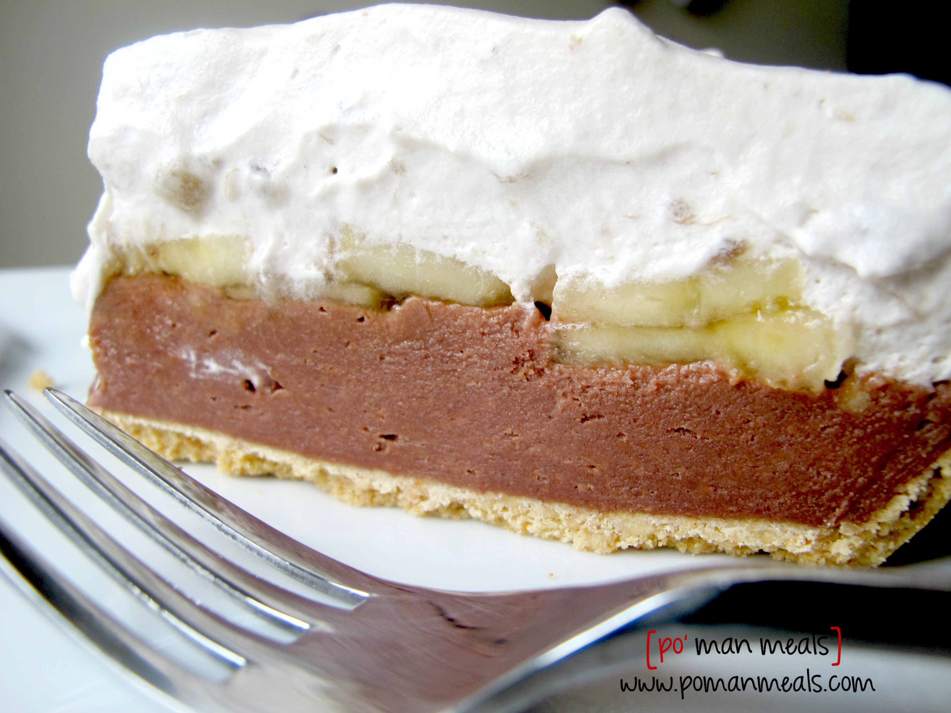 po' man meals - three layer chocolate banana cream pie