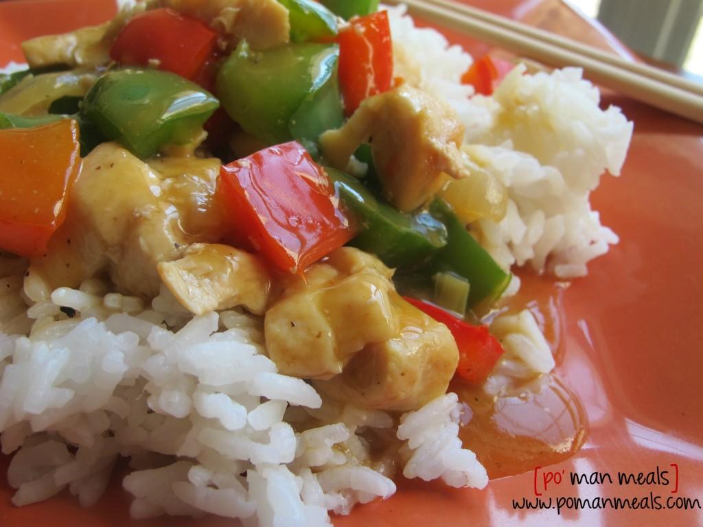 po' man meals - bell pepper chicken stir-fry