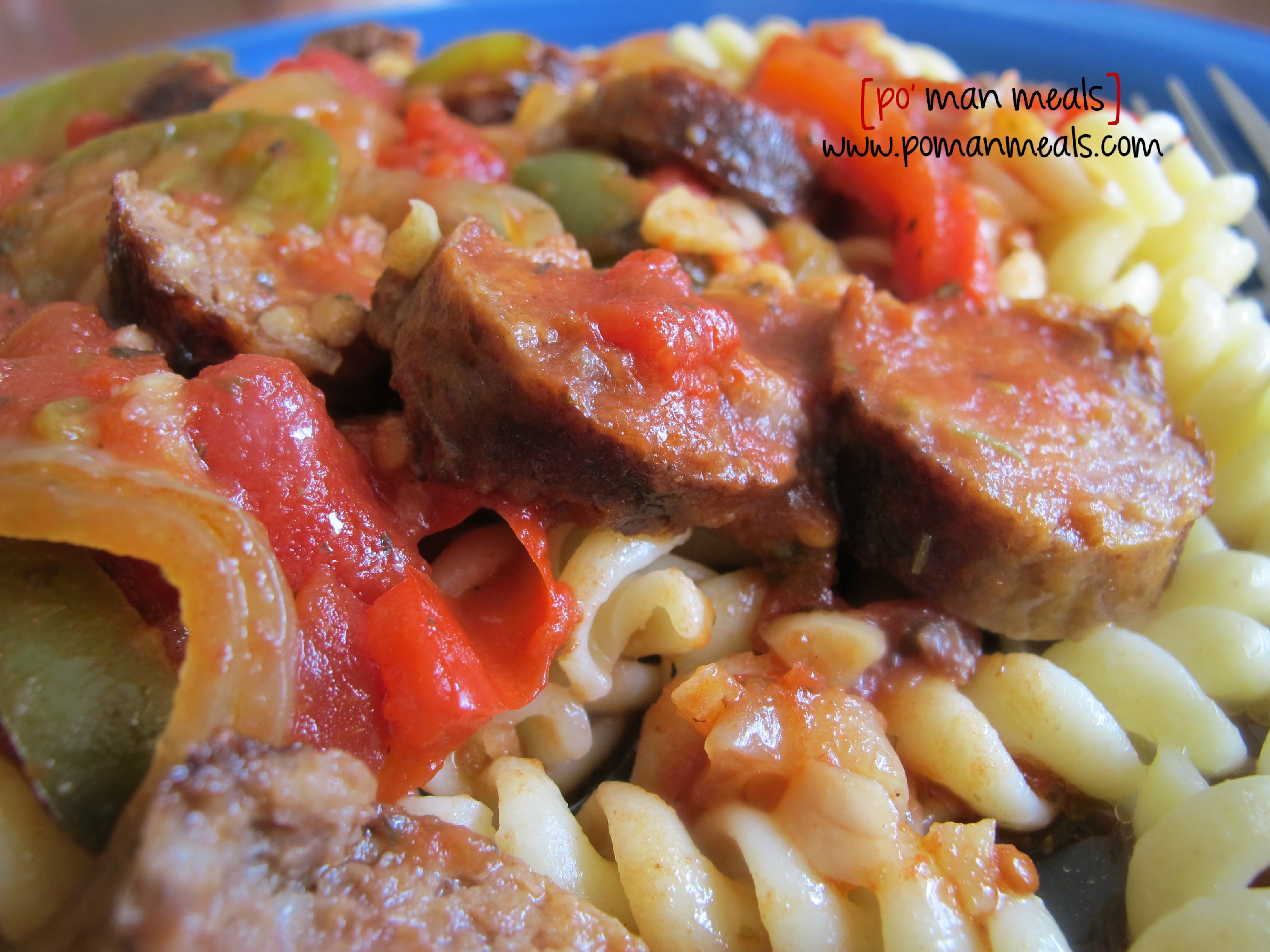 po' man meals - slow cooker italian sausage with peppers and onions