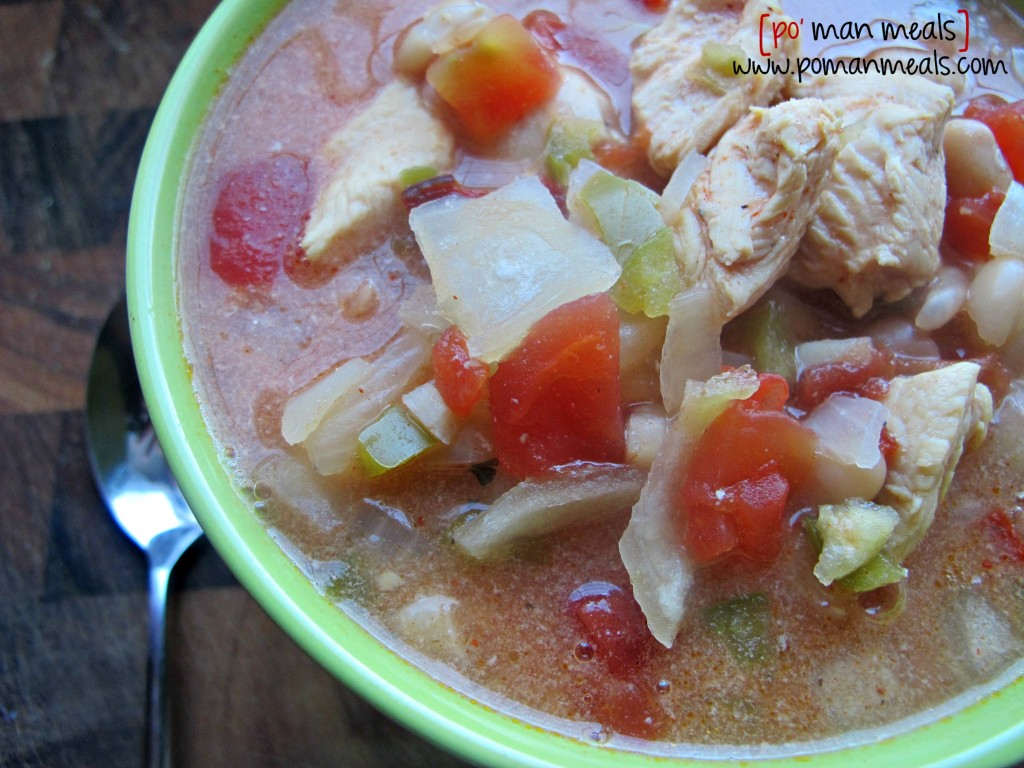 po' man meals - slow cooked chipotle chicken chili