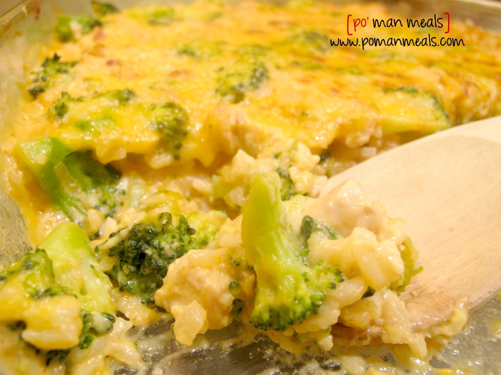 po' man meals - cheesy chicken, rice and broccoli casserole